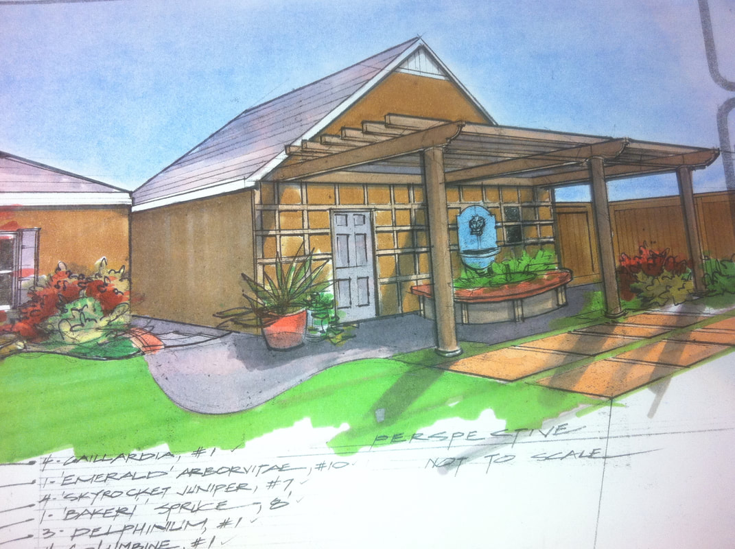 Design rendering of a retreat landscape.